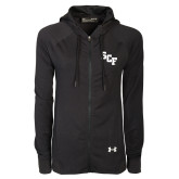 Ladies Under Armour Black Varsity Full Zip Hoodie-SCF