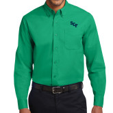 Kelly Green Twill Button Down Long Sleeve-SCF