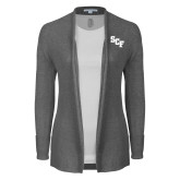 Ladies Heather Grey Open Front Cardigan-SCF