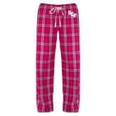 Ladies Dark Fuchsia/White Flannel Pajama Pant-SCF