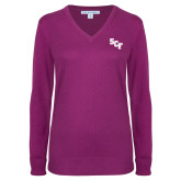 Ladies Deep Berry V Neck Sweater-SCF