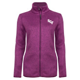 Dark Pink Heather Ladies Fleece Jacket-SCF