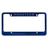 Metal Blue License Plate Frame-Manatees