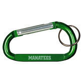 Green Carabiner with Split Ring-Manatees  Engraved