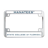 Metal Motorcycle License Plate Frame in Chrome-Manatees
