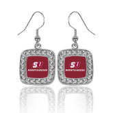 Crystal Studded Square Pendant Silver Dangle Earrings-SU Mountaineers