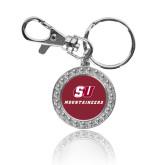 Crystal Studded Round Key Chain-SU Mountaineers