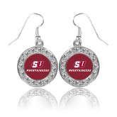 Crystal Studded Round Pendant Silver Dangle Earrings-SU Mountaineers