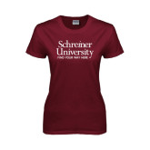 Ladies Maroon T Shirt-University Mark