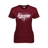 Ladies Maroon T Shirt-Softball Design