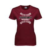 Ladies Maroon T Shirt-Baseball Design