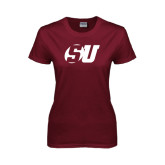 Ladies Maroon T Shirt-SU