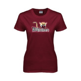Ladies Maroon T Shirt-Mountaineers w/ Mountain Lion