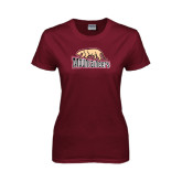 Ladies Maroon T Shirt-Mountaineers w/ Mountain Lion Walking