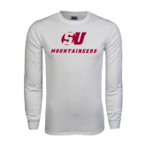 White Long Sleeve T Shirt-SU Mountaineers