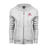 ENZA Ladies White Fleece Full Zip Hoodie-SU Mountaineers