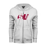 ENZA Ladies White Fleece Full Zip Hoodie-SU