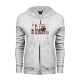 ENZA Ladies White Fleece Full Zip Hoodie-Mountaineers w/ Mountain Lion