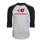 White/Black Raglan Baseball T-Shirt-SU Mountaineers