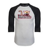 White/Black Raglan Baseball T-Shirt-Mountaineers w/ Mountain Lion