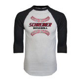 White/Black Raglan Baseball T-Shirt-Baseball Design