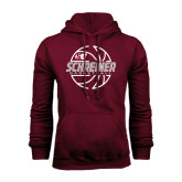 Maroon Fleece Hoodie-Basketball Design