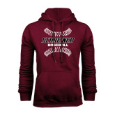 Maroon Fleece Hoodie-Baseball Design