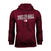 Maroon Fleece Hoodie-Volleyball Design