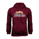 Maroon Fleece Hood-Mountaineers w/ Mountain Lion Walking