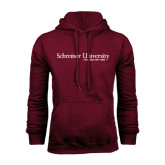 Maroon Fleece Hood-University Wordmark