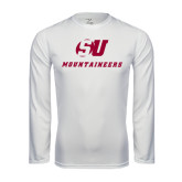 Performance White Longsleeve Shirt-SU Mountaineers