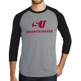 Grey/Black Tri Blend Baseball Raglan-SU Mountaineers