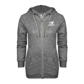 ENZA Ladies Black Marled Full Zip Hoodie-Official Logo