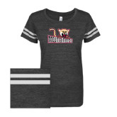 ENZA Ladies Black/White Vintage Triblend Football Tee-Mountaineers w/ Mountain Lion