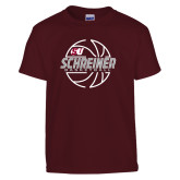 Youth Maroon T Shirt-Basketball Design