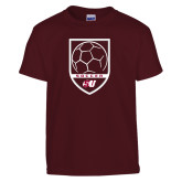 Youth Maroon T Shirt-Soccer Design