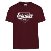 Youth Maroon T Shirt-Softball Design