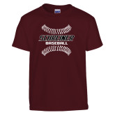 Youth Maroon T Shirt-Baseball Design
