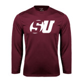 Performance Maroon Longsleeve Shirt-SU