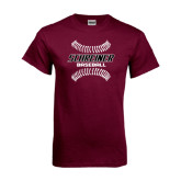 Maroon T Shirt-Baseball Design