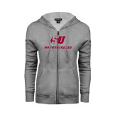 ENZA Ladies Grey Fleece Full Zip Hoodie-SU Mountaineers