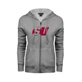 ENZA Ladies Grey Fleece Full Zip Hoodie-SU