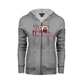 ENZA Ladies Grey Fleece Full Zip Hoodie-Mountaineers w/ Mountain Lion