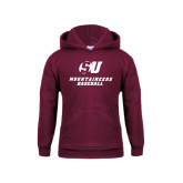 Youth Maroon Fleece Hood-Baseball