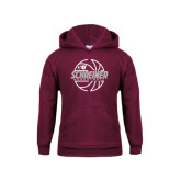 Youth Maroon Fleece Hoodie-Basketball Design