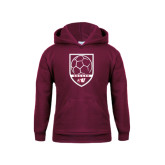Youth Maroon Fleece Hoodie-Soccer Design
