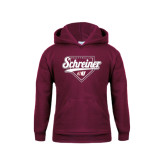 Youth Maroon Fleece Hood-Softball Design