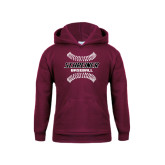 Youth Maroon Fleece Hood-Baseball Design