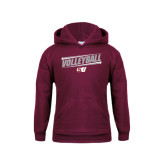 Youth Maroon Fleece Hoodie-Volleyball Design