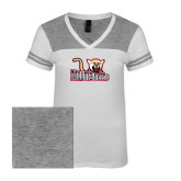 Ladies White/Heathered Nickel Juniors Varsity V Neck Tee-Mountaineers w/ Mountain Lion